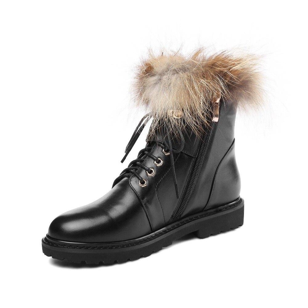 Chaussures dhiver Chaud,ELECTRI Femmes Peluche Bottines Neige Zip Cheville Fourrure La/çage Chaussures Plates Boots Femme Tube Chelsea Court Automne dhiver