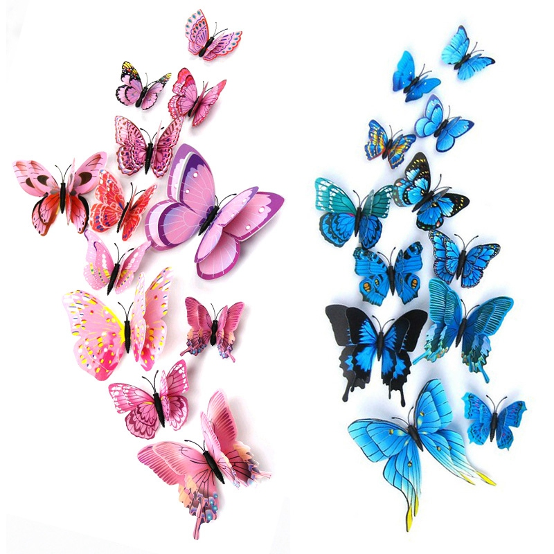 Hot Sale 12pcs/bag 3D PVC Double Butterfly Wall Sticker for Home Decoration Home Decor Butterfly Fridge Magnet