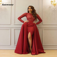 Satsweety Saudi Arabic Burgundy Evening Dress with Detachable Skirt Long Sleeves Side Split Women Mermaid Prom Dresses 2019