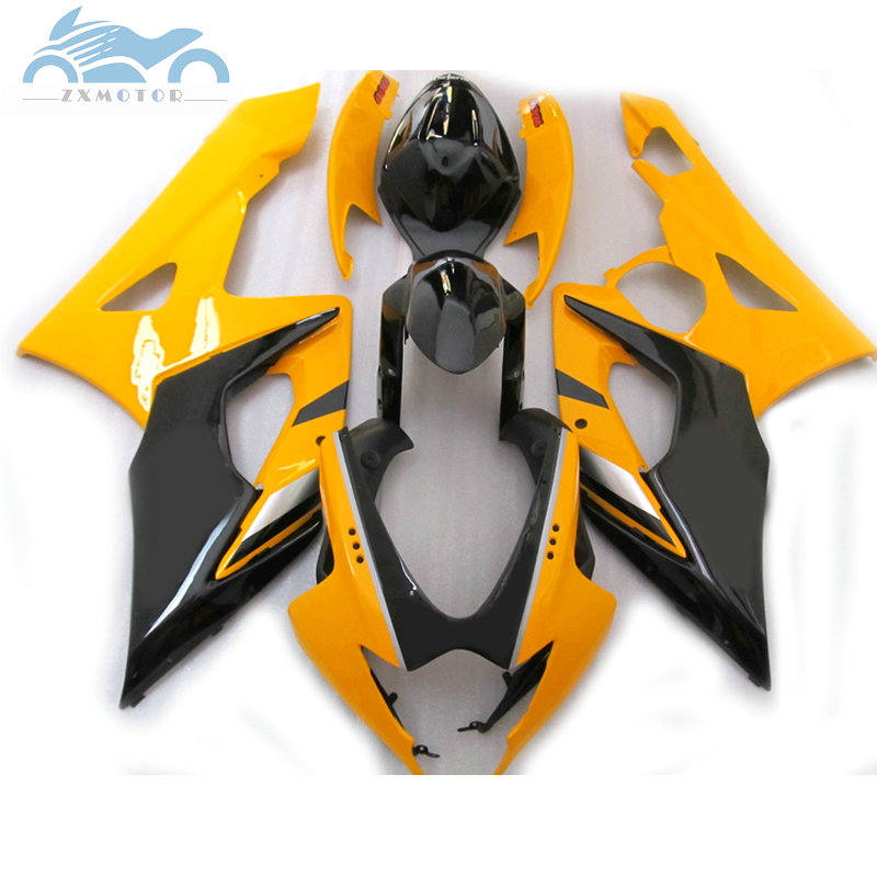 High quality <font><b>Fairing</b></font> set for <font><b>Suzuki</b></font> GSXR 1000 2005 2006 <font><b>GSXR1000</b></font> K5 <font><b>K6</b></font> sport <font><b>fairings</b></font> kit 05 06 GSX R1000 yellow black AT12 image
