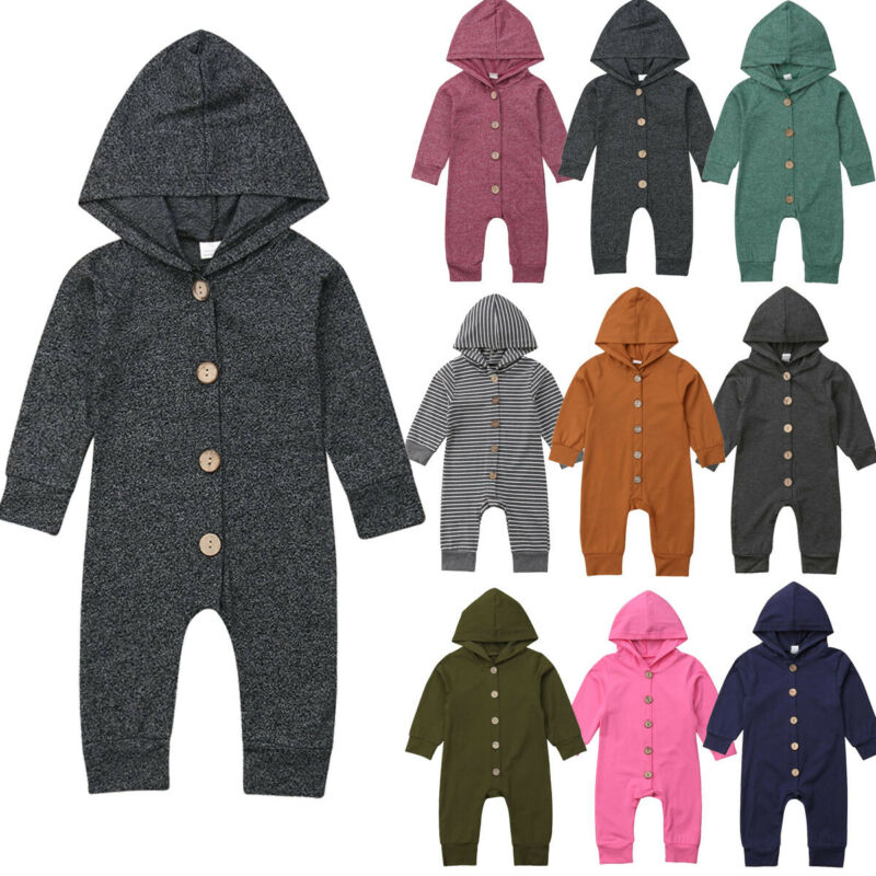 0-24M Toddler Baby Boy Girl Hooded Romper Autumn Winter Cotton Jumpsuit Clothes Outfits
