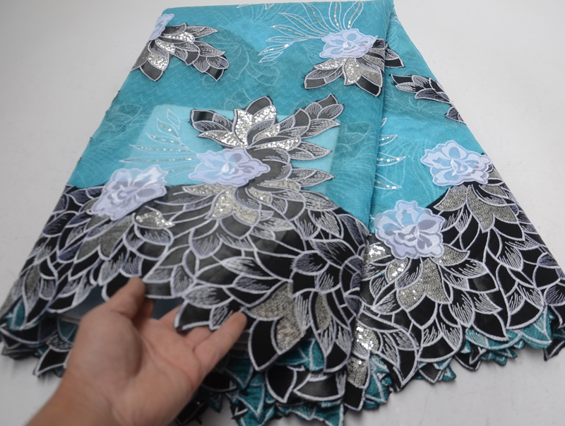 Free shipping 5yards pc high quality African organza lace fabric with silver sequins and 3D flowers