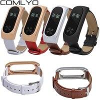 COMLYO-repuesto de correa de cuero genuino para Xiaomi Mi Band 2, pulsera inteligente de lujo, 2 bandas