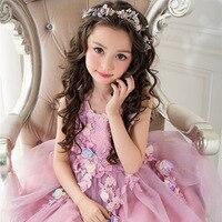 Girls Party Dress Leaves Appliques Elegant Purple Tulle Children Kids Dresses For Girls Wedding Clothes Robe