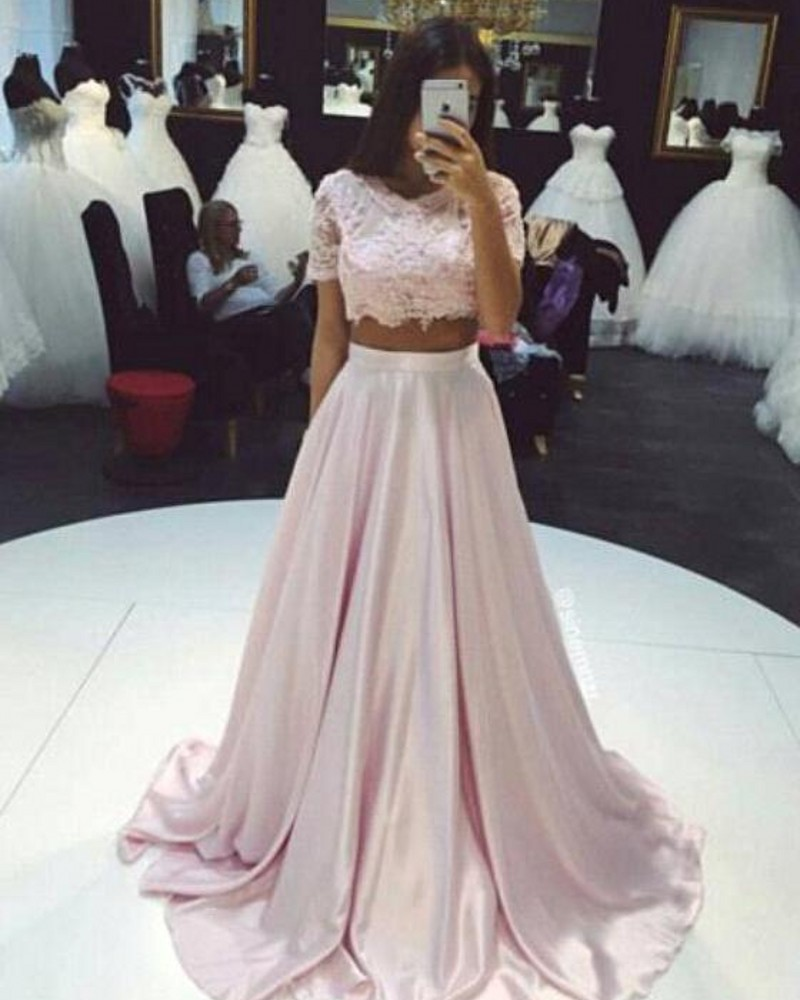 7ffa3dac9647 Fashion Two Pieces Prom Dresses 2017 A lineLace Top Short Sleeves Evening  Dress Light Pink African Formal Party Gow-in Prom Dresses from Weddings &  Events ...