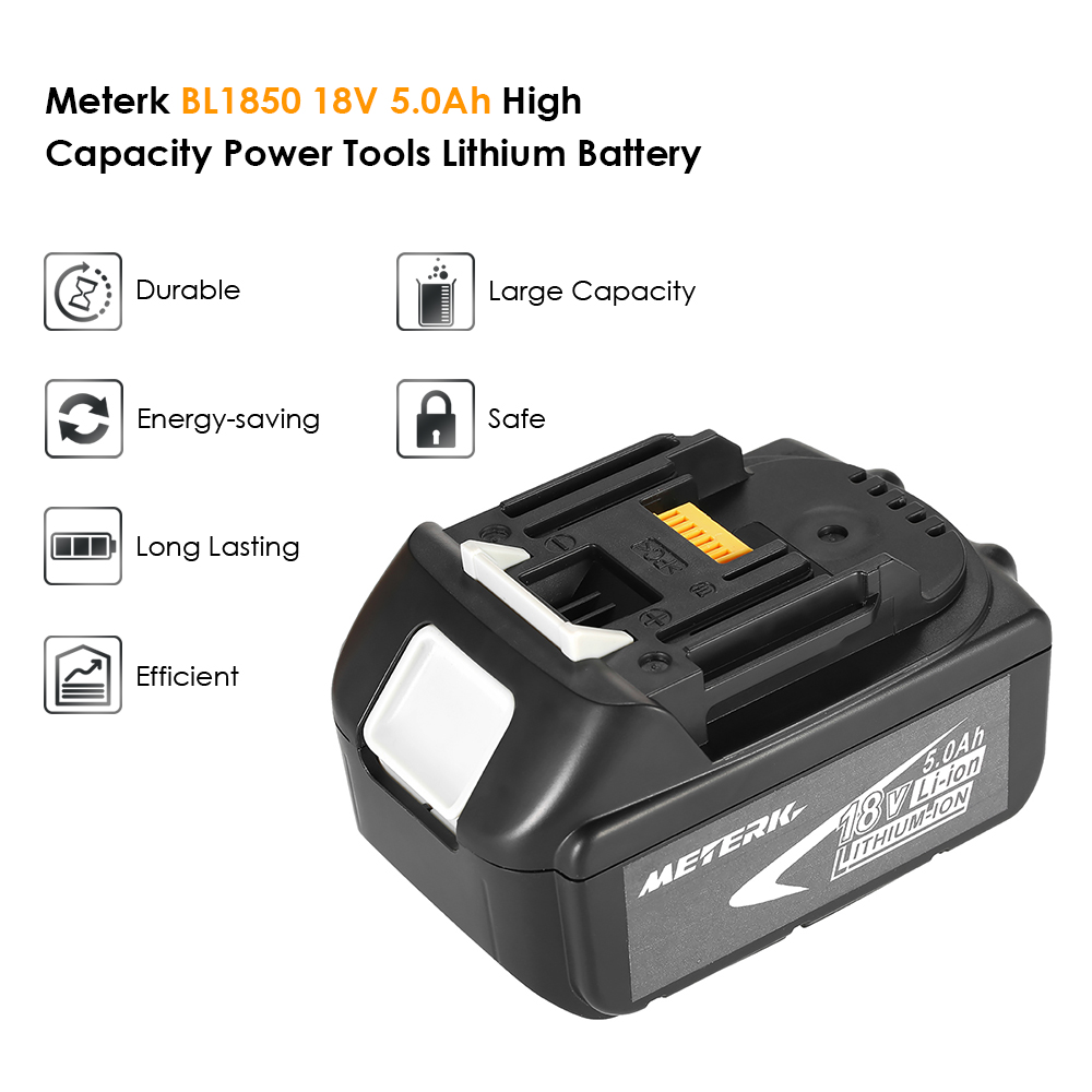 Meterk BL1850 18V 4.0Ah /5.0Ah Recharcheable Power Tools Battery Lithium replacement Battery Pack large capacity  for MAKITA|Power Tool Accessories| |  - title=