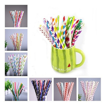 Wholesale environmental colorful paper straw straight drinking wedding kids birthday party decoration supplies free ship