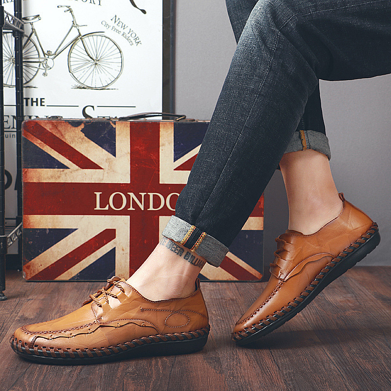 fashion Men/'s low top Casual lace up loafer soft Sneaker Moccasins driving shoes