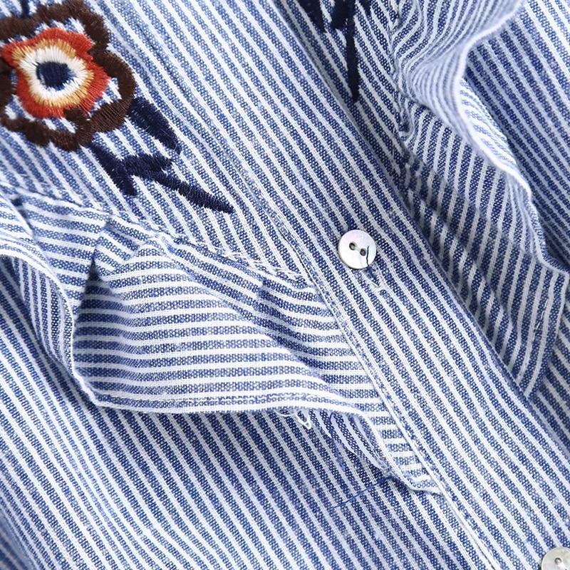 LERFEY Ženska majica za vezenje cvjetne bluze Ruffles Uredske - Ženska odjeća - Foto 3