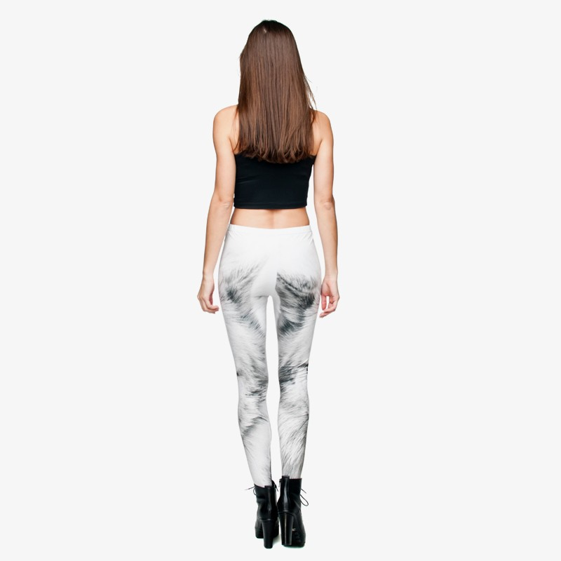 2017 Divertente Ragazza Pantaloni Della Donne Morbido White Animale Lupo Wolf Leggings Allungato Delle Ghette Bianco Base Di 3d Stampato r0YE5rawq