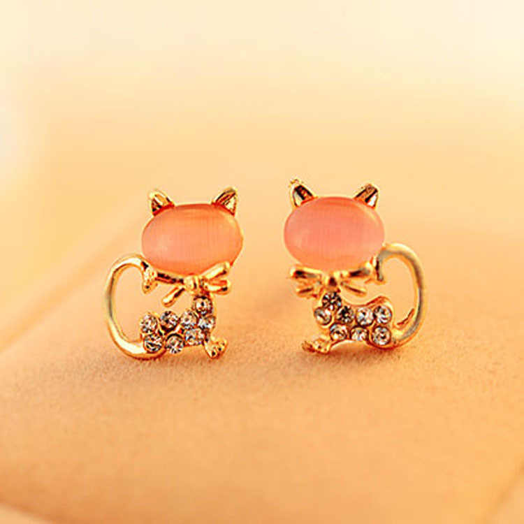 New Fashion Cute Kitten Rhinestone Sweet Opal Cat Bowknot Stud Earrings For Women Gifts
