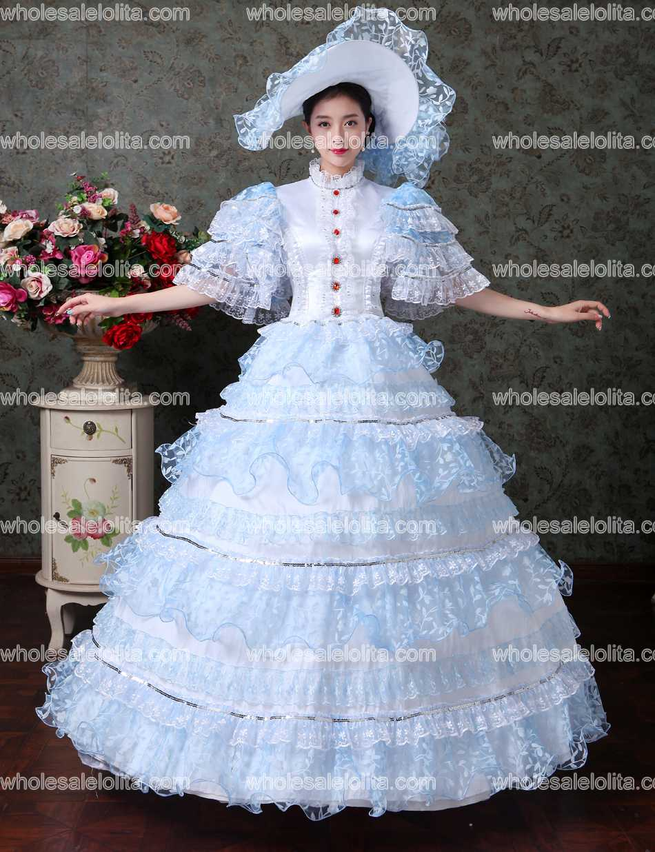 Christmas gown ideas 18th - Sky Blue Lace Vampire Masquerade Ball Dress Civil War Southern Belle Ball Gown Marie Antoinette 18th