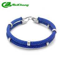 Beichong Men 5MM Genuine Blue Stingray Leather Bracelets Two Layer Silver 5mm Round Stainless Steel Circle
