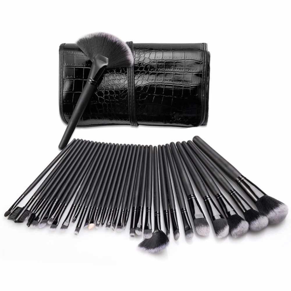 Professional 32 pcs Makeup Brushes Set For Women Fashion Soft Face Lip Eyebrow Shadow Make Up Brush Set Kit + Pouch Bag make up for you professional face deep clean soft make up brush yellow white