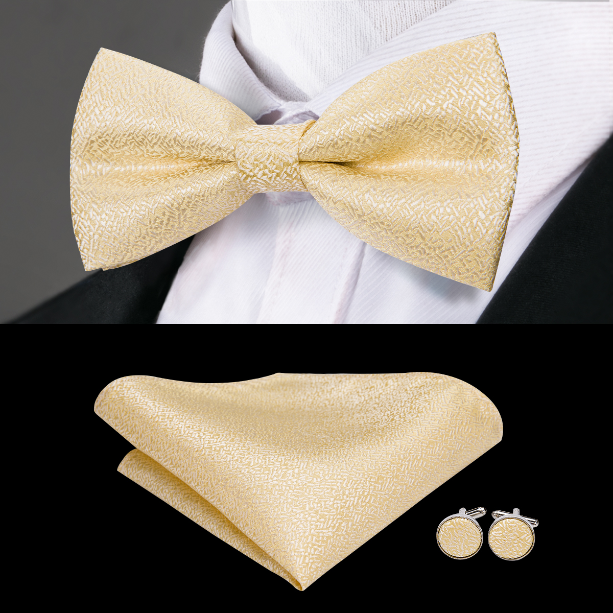 Hi-Tie Brand Designer Gold Fashion Men's Bow Tie High Quality Silk Hand Woven Weddding Bowtie Handky Cufflinks Bowties LH-771