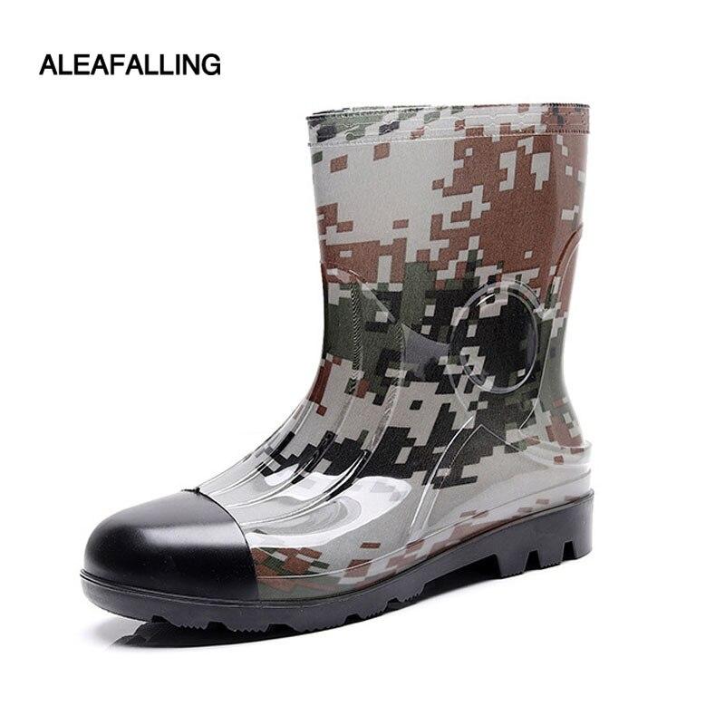 Aleafalling Neue Design Camouflage Fretwork Regen Stiefel Wasserdicht Slip-on Gummi Männer Schuhe Casual Mid-waden Martin Pvc Stiefel M059