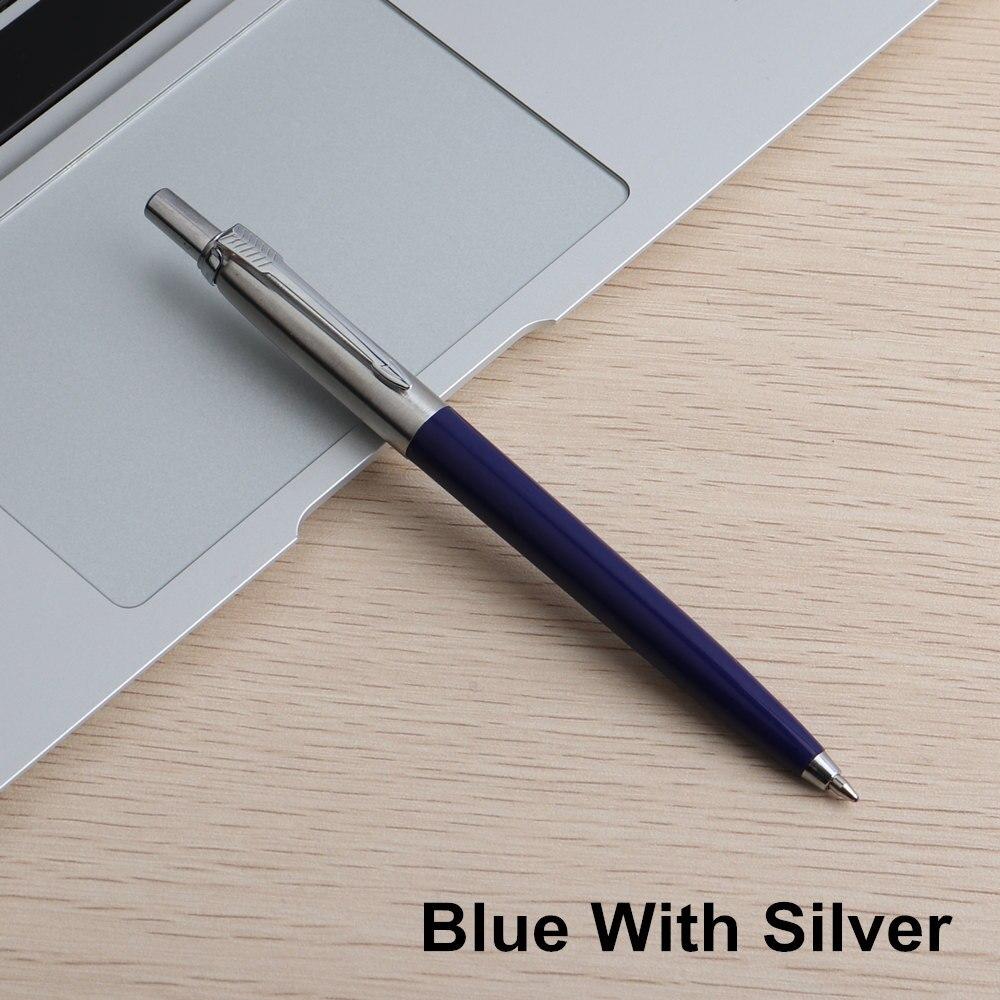 Офисная ручка Коммерческая металлическая Подарочная шариковая ручка канцелярские стержни solventborne автоматические шариковые ручки для школы офиса 0,7 мм заправки - Цвет: 1PC Blue With Silver