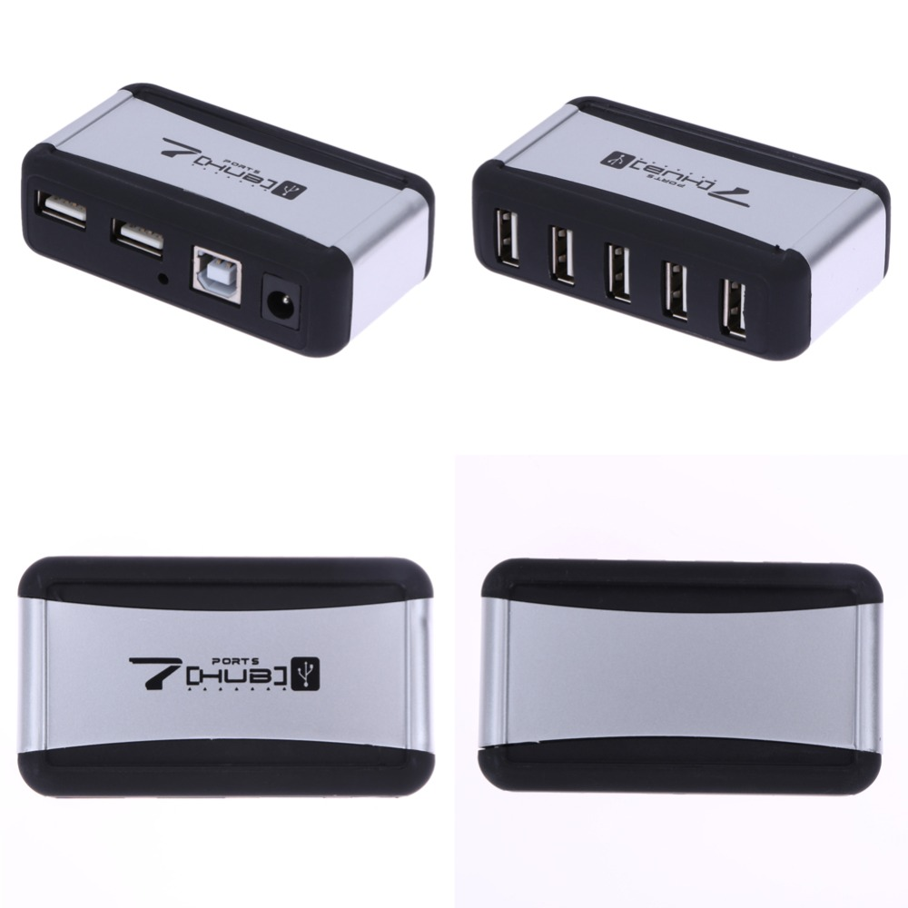 EU Plug 7 Ports USB 2.0 High Speed Hub USB Expansion with AC Power Adapter Cable for PC Laptop USB Charging HUB ck 00171c high speed usb 3 0 4 port hub w eu plug power adapter black