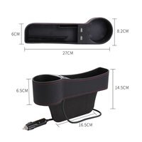pu leather Universal Car Seat Gap Organizer Storage Box PU Leather Auto Seat Crevice Side Slit Accessories With 12V Cigarette Lighter Drive (3)
