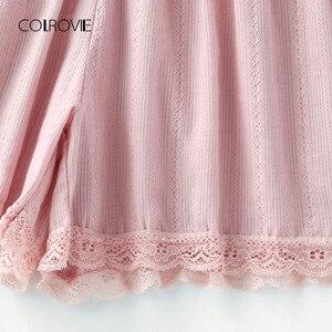 Image 5 - COLROVIE Contrast Lace Cami With Shorts Pajama Set Women Pink Spaghetti Strap Sleeveless Drawstring Waist Cute Sleepwear