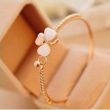 Wholesales Hot New Fashion Bow Sweet Clover Inlaid Opal Bracelet Jewelry Accessories Bangles(China)