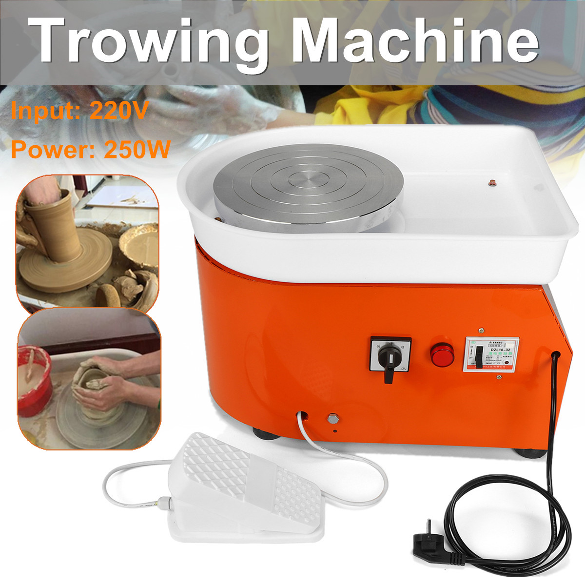 25cm Pottery Wheel Machine EU/AU AC220V 250-350W Ceramic Work Ceramics Clay Art With Mobile Flexible Foot Pedal Smooth Low Noise 25cm 350w pottery wheel pottery diy clay machine for ceramic work ceramics clay 220v children learning machine