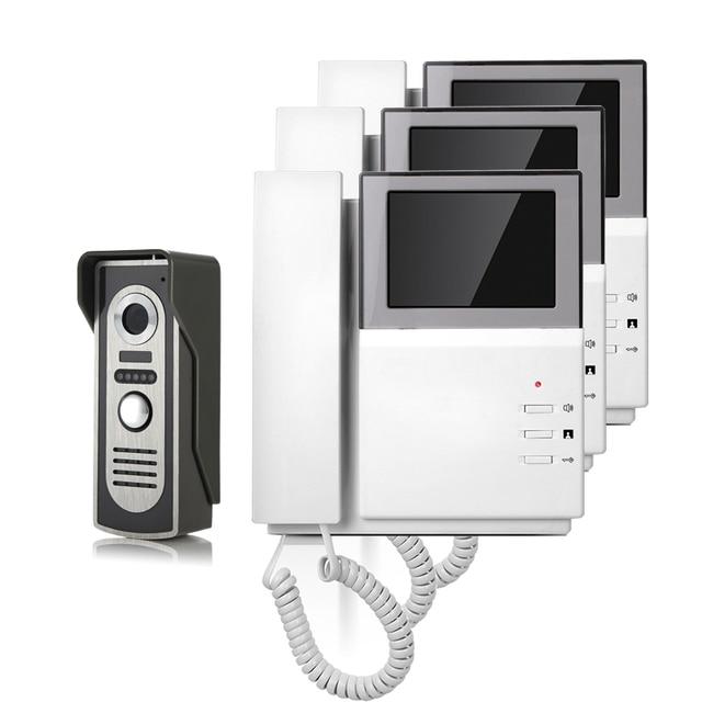 FREE SHIPPING New Handheld 4.3 inch Color TFT Video Door phone Doorbell Intercom Night Vision Door bell Camera 3 Screen In Stock