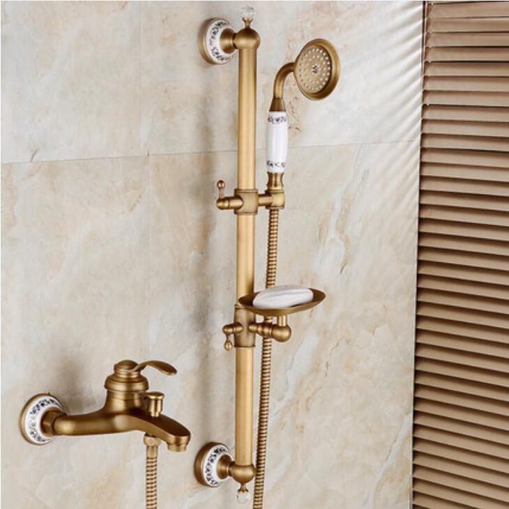 Bathtub Faucets Antique Bronze Bathroom Tub Mixer Faucet New Ceramic Style Hand held Bathtub Faucet Wall