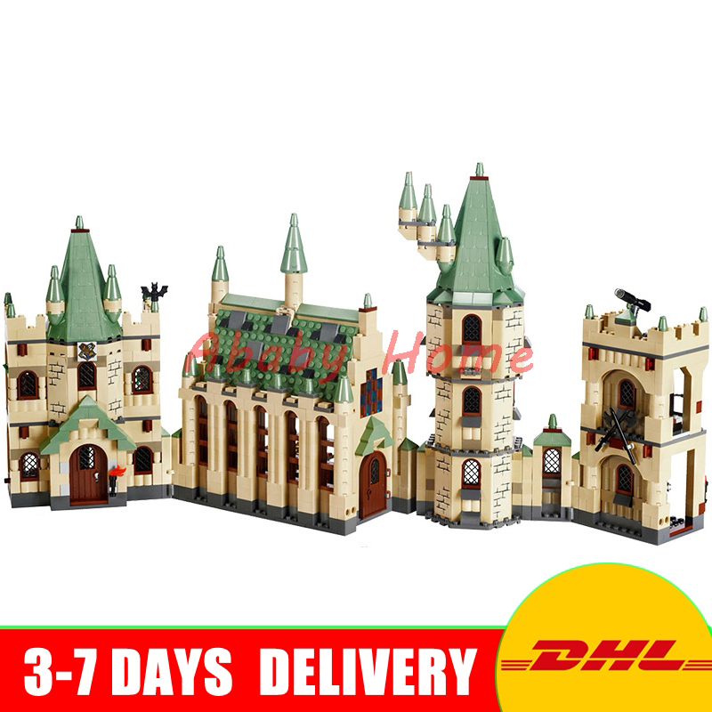 2017 DHL Lepin 16030 Movie Series The Hogwarts Castle Educational Building Blocks Bricks Model Toys Clone 4842 lepin 16030 1340pcs movie series hogwarts city model building blocks bricks toys for children pirate caribbean gift