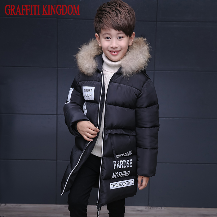 WENDYWU NEW COME Natural fur Boys winter down coat children clothing warm Jackets Coats Kids thick cotton down jacket factory children winter coats jacket baby boys warm outerwear thickening outdoors kids snow proof coat parkas cotton padded clothes