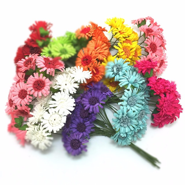 100 pcs/bag Mulberry Paper Daisy Flower wedding flower Bouquet/wire ...