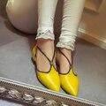 2017 Новая Мода Корейский Стиль Женской Обуви Острым Носом Сексуальная Strappy Плоским Скольжения На Обувь Партия Обуви Для Женщин Желтый зеленый
