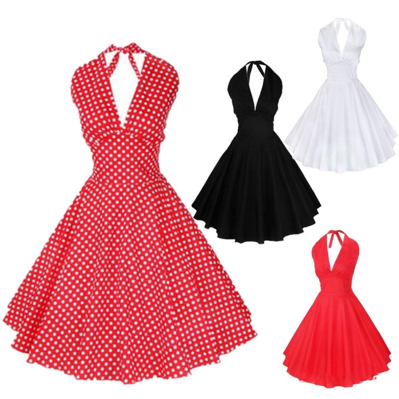 プラスサイズの女性のぶら下げネックドレス1950 s 60 sヘップバーン