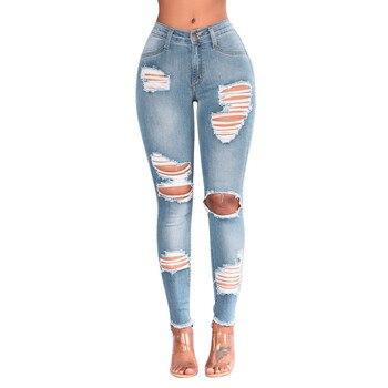 b66e625293 CHAMSGEND Casual Jeans mujeres de alta cintura lápiz flaco Blue Denim  Pantalones Ripped Hole cortado Slim Fit Skinny Jeans Mujer oc15