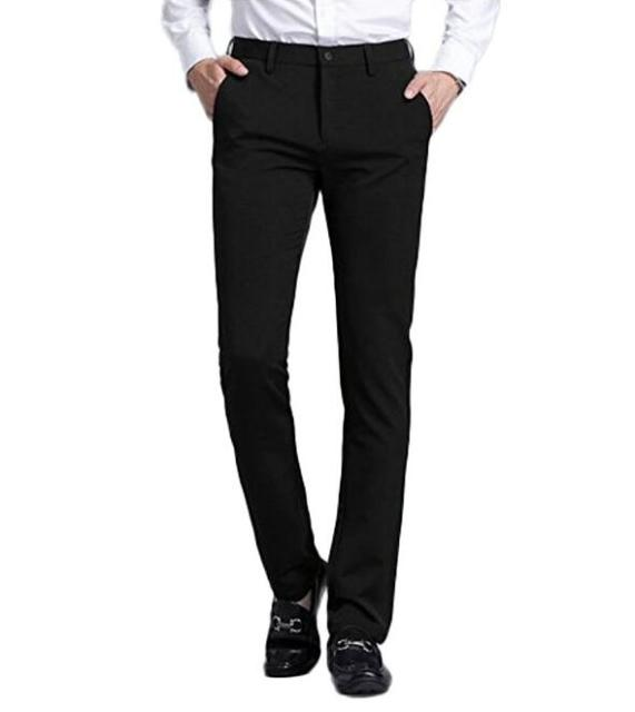 Mens Black Suit Separate Pant Flat-Front Straight Slim-fit Business Straight Male Trousers Solid Dress Pants Custom Made