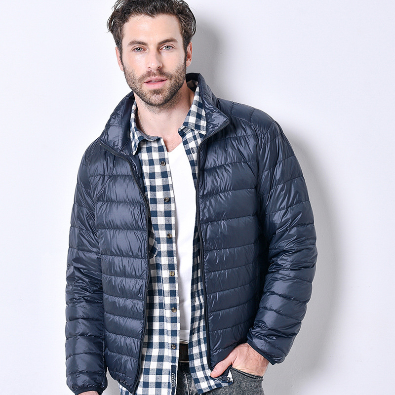 JZ CHIEF Men Ultralight Winter   Down   Jacket Foldable Short White Duck   Down     Coat   Stand Collar Slim Fit Casual Warm Winter Jackets