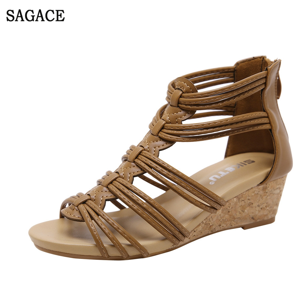 SAGACE Summer Shoes Sandals Open-Toe High-Heel Ankle Sexy Fashion Women's Ladies  title=