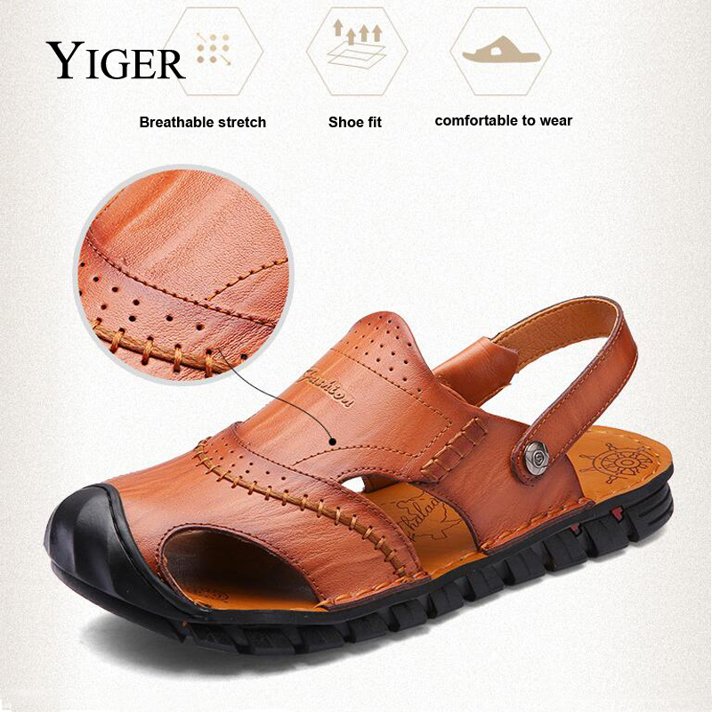 YIGER NEW Men's Genuine Leather sandale Casual Outdoor Beach Plišani - Muške cipele - Foto 2