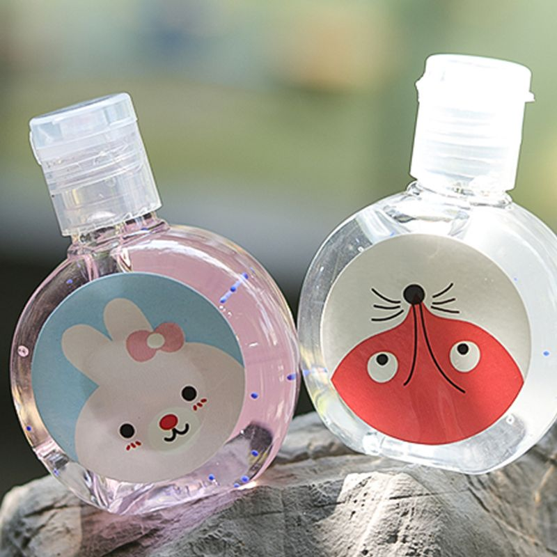 30ml Cartoon Animal Rabbit/Fox/Cat Travel Portable Mini Hand Sanitizer Disposable No Clean Waterless Fresh Scented Gel Shampoo C