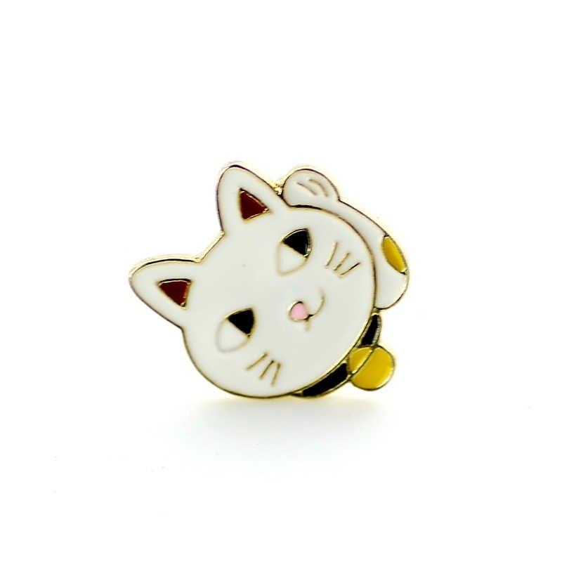 Gaya Korea Fashion Bros Pin Tombol Kucing Bros untuk Wanita Hadiah Enamel Kerah Pin Pria Topi Syal Jas Bros Pakaian gesper