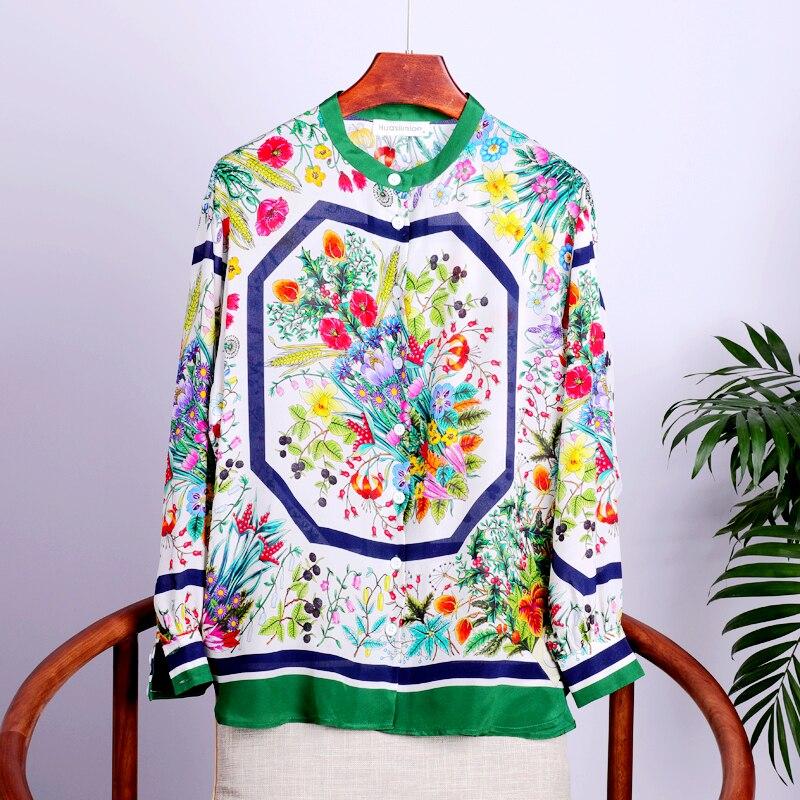 Высококачественная 100% Шелковая женская блузка из легкой ткани с круглым вырезом и длинными рукавами, топы больших размеров, элегантный стиль, новая мода 2019 - 4