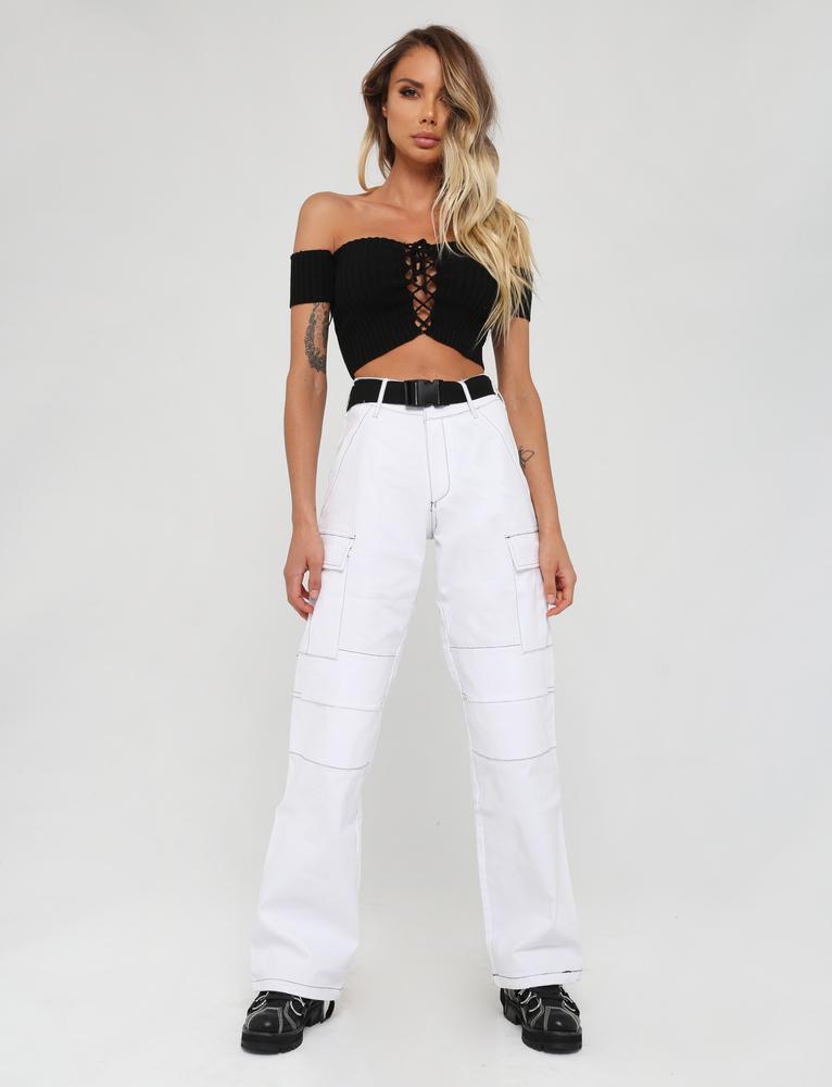 Alta Lado De Pocketspanelled Costura Ace Knees Recta Pierna Cinturón Negro Ss2018 Denim Cintura Blanco Mujeres Pantalón q41nnP8