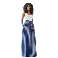 Summer Striped Print Two 2 Piece Set Maxi Dresses Women Casual Sleeveless Top Sashes Floor Length