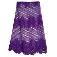 Newest 2016 Nigerian Fabrics Gold Latest Rhinestone Lace Fabric Purple Blue Orange Yellow White African Lace