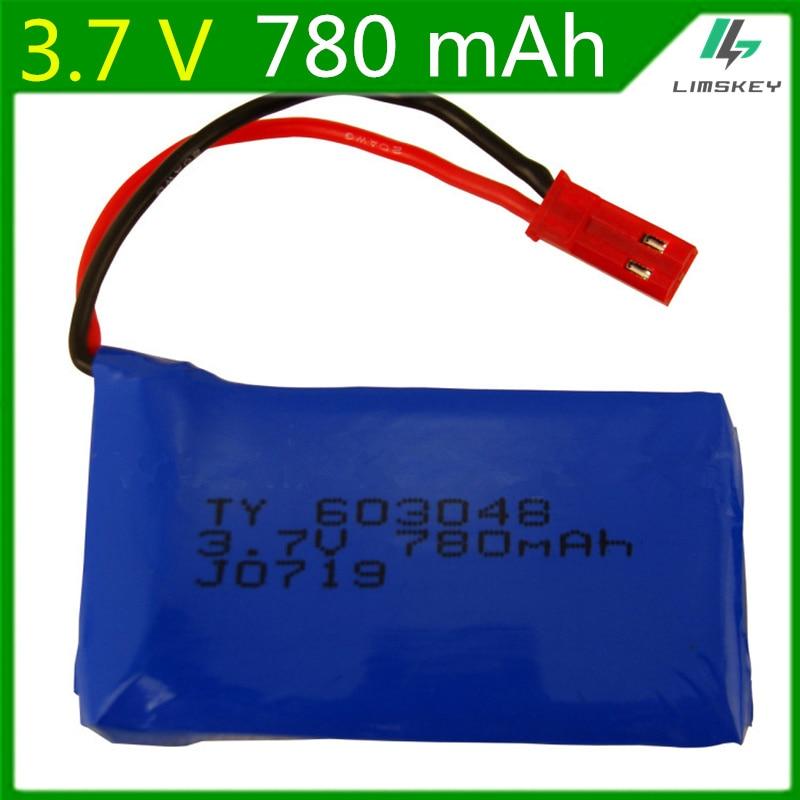 2PCS 3.7V 780mAH Lipo Battery For WLtoys V686 V626 V636 X250 Q222 V686G Remote Control Aircraft Li-po battery JST plug 603048