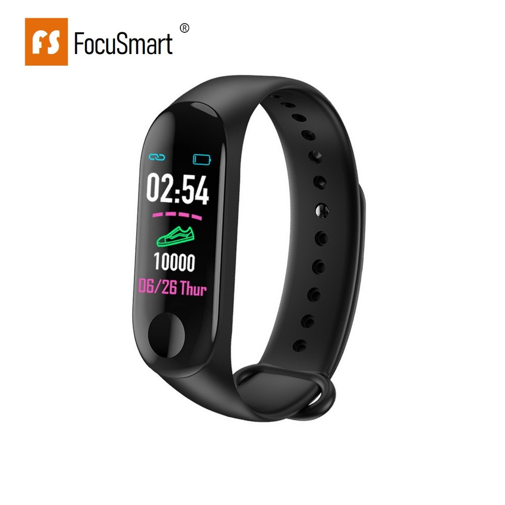 FocuSmart M3 Smart Wristband Fitness Tracker Blood Pressure HeartRate Monitor Waterproof Color Screen Smart Bracelet PK MiBand 3