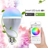 Alumínio RGBW WI-FI LEVOU Bulbo AC85-240V 9 W E27 DIODO EMISSOR de Luz Colorido Regulável Suporte IOS/Android APP Controle LEVOU lâmpada Frete Grátis