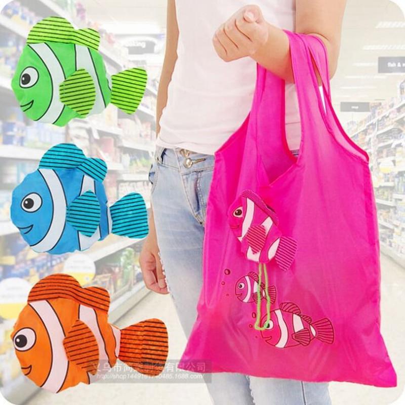 Floral Folding Reusable Grocery Nylon Bag Large Cartoon Fish Shopping Bag Cute Travel Tote Free shipping