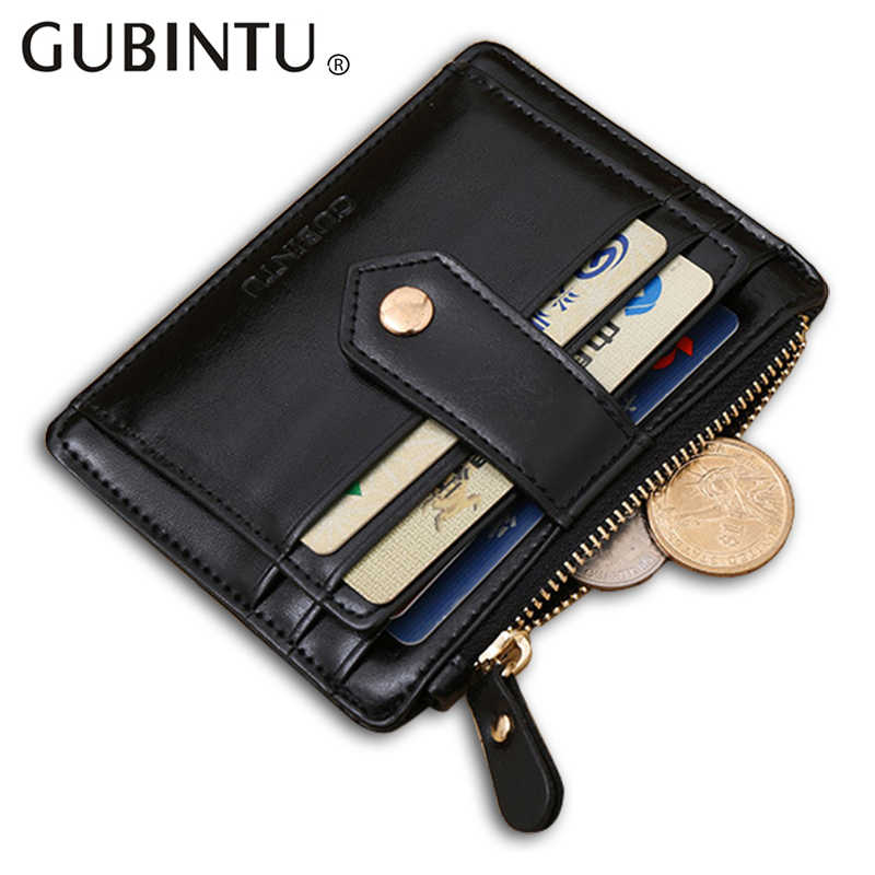Quality Assurance  pu leather card wallet with zipper pocket casual small wallet mini pure man hasp credit card holder