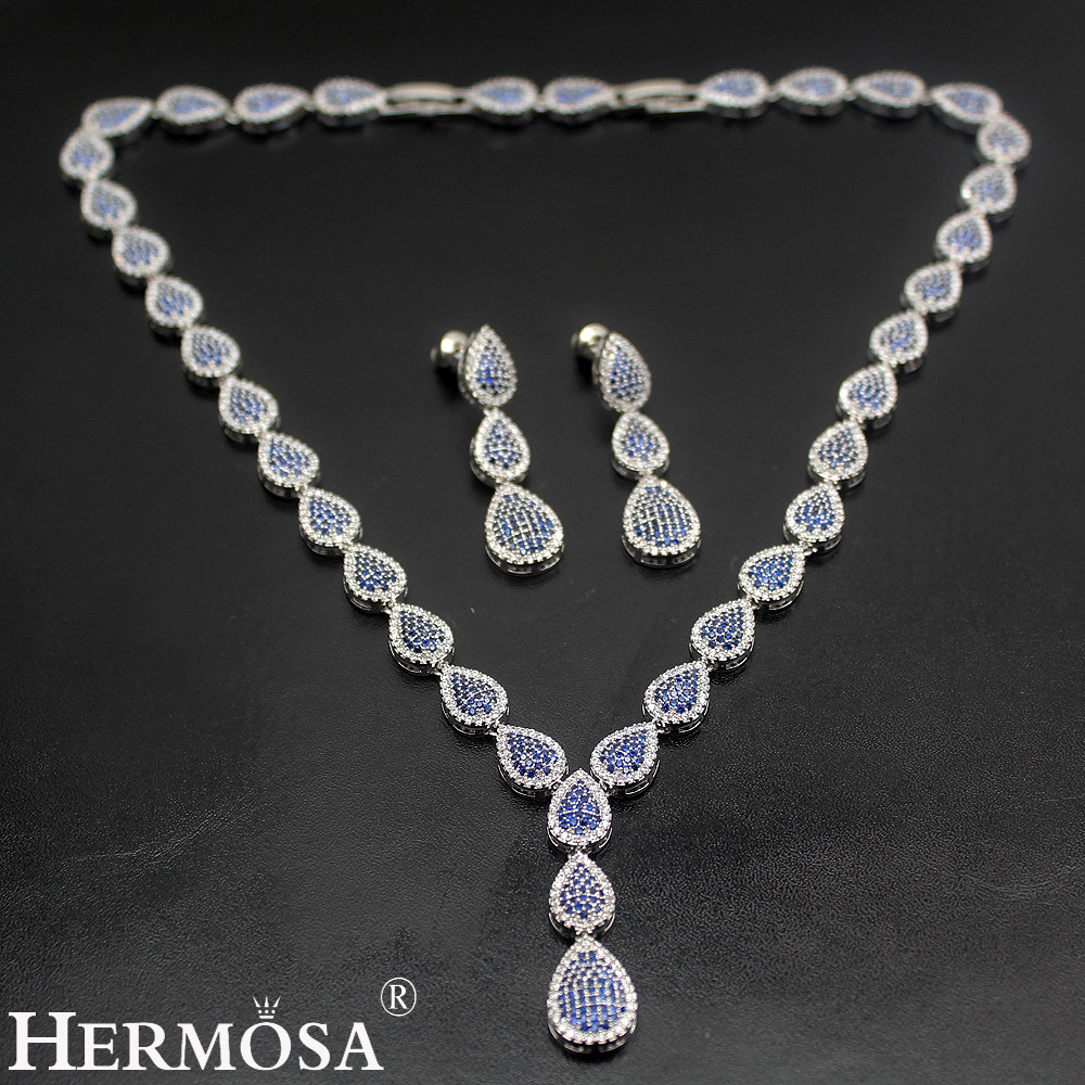 HERMOSA jewelry New Wedding accessories Fashion 925 Sterling Silver blue Drop shape Necklace Earrings set ST97 mason liquid calcium 1 200 mg with d3 400 iu 60 softgels